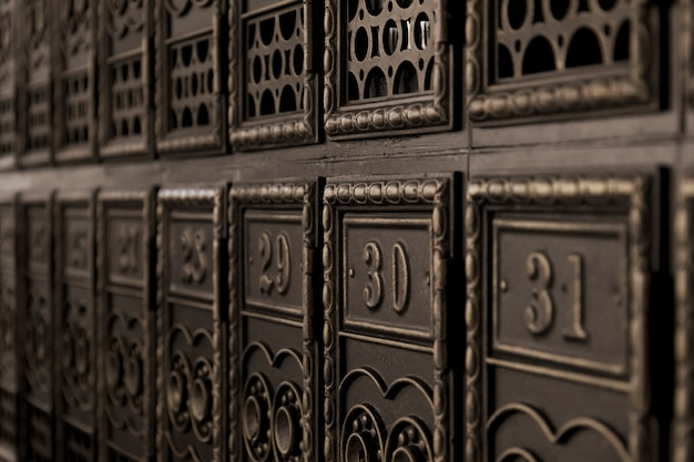 Vintage boîtes aux lettres en perspective
