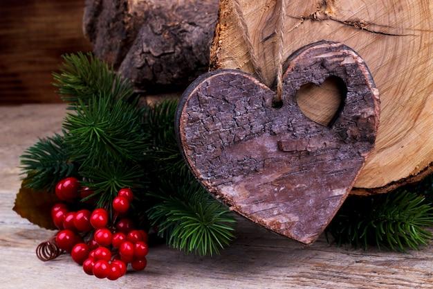Vintage coeur en bois