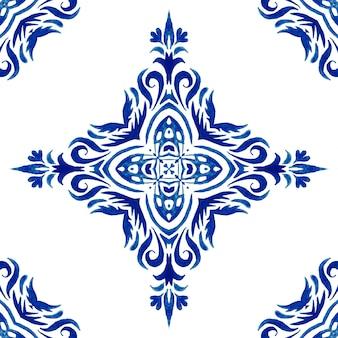 Vintage damassé sans couture ornementale aquarelle arabesque peinture tuile azulejo