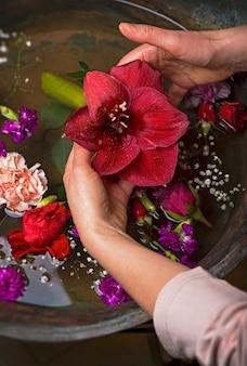 Vintage, diverses fleurs diverses fleurs sur fond vintage foncé, vue de dessus, mise à plat