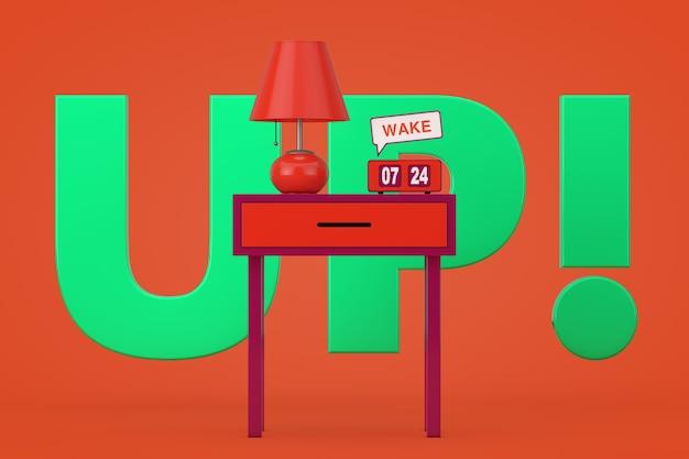 Vintage flip clock avec lampe de table de nuit rétro et signe de réveil sur une vieille table élégante sur fond orange, rendu 3d