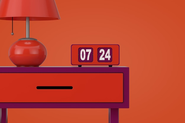 Vintage flip clock avec lampe de table de nuit rétro sur une vieille table élégante sur fond orange le rendu 3d