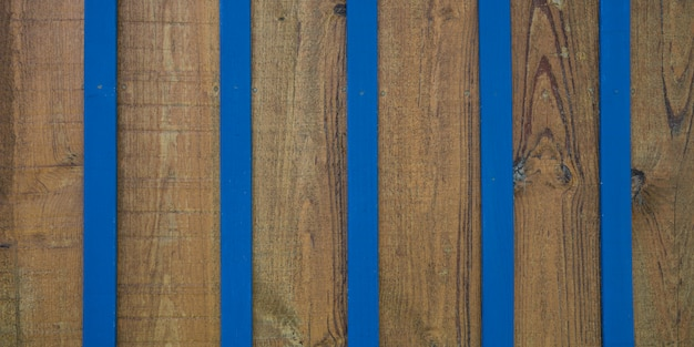 Vintage plage bleu mur en bois brun fond rayé de planche de bois