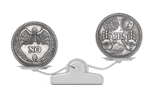 Vintage silver flipping coin avec oui et pas de mot pour faire le bon choix, l'opportunité, la fortune ou la décision dans la vie en équilibre sur une échelle d'équilibre simple sur fond blanc. rendu 3d
