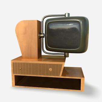 Vintage tv des années 1950 isolé sur fond blanc 3drendering