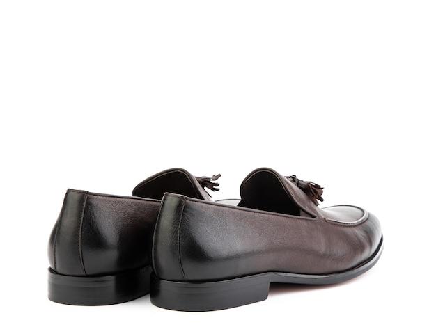 Vintage womens loafer shoes gros plan publicité shot chaussures marron en cuir