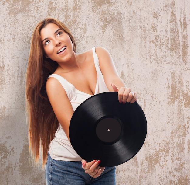 Vinyle disque dame fun pensive