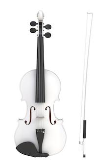 Violon blanc classique avec archet isolé sur fond blanc, instrument à cordes