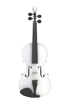 Violon blanc classique isolé sur fond blanc, instrument à cordes, rendu 3d