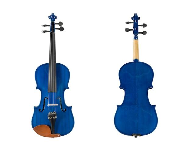 Violon en bois bleu isolé sur fond blanc