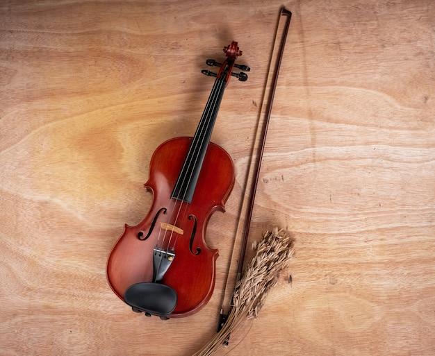 Le violon classique et l'archet sont posés à côté d'une fleur séchée, d'un sanglier en bois.