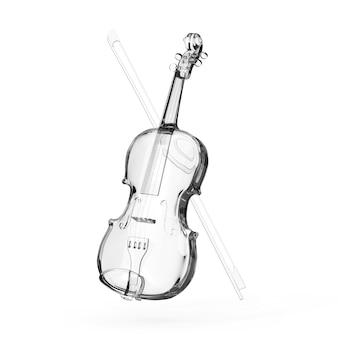 Violon de verre classique avec archet sur fond blanc. rendu 3d