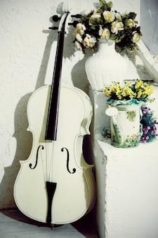Violoncelle blanc avec des fleurs dans la salle blanche