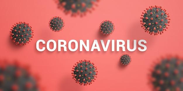 Les virions de coronavirus tombent sur le texte sur un bureau rouge. vue de dessus, composition à plat
