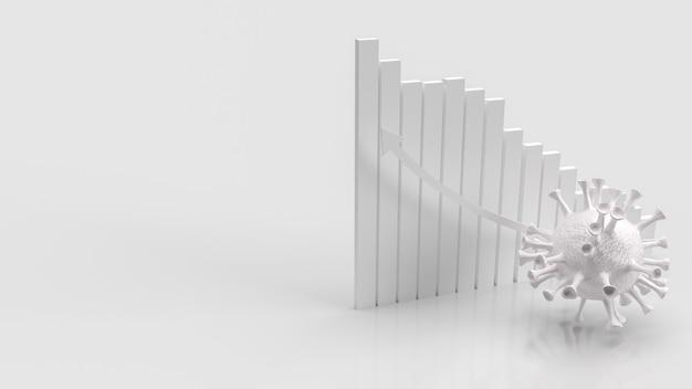 Le Virus Blanc Sur La Flèche Du Tableau Blanc Vers Le Haut Pour Le Rendu 3d De Concept Médical Ou Sci Photo Premium