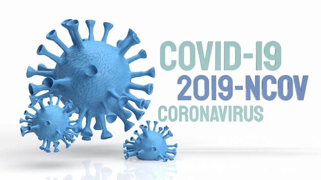 Le virus bleu sur fond blanc pour le rendu 3d de contenu médical et sci