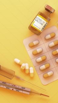 Virus covid-19 avec vaccins et médicaments sur fond jaune rendu 3d