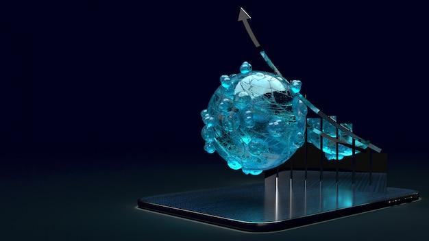 Virus et graphique sur tablette, rendu 3d