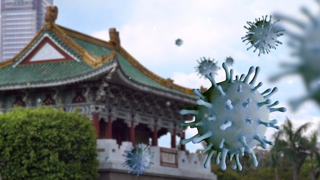 Virus de la grippe covid 19 avec la belle porte est jingfu à taipei comme grippe dangereuse