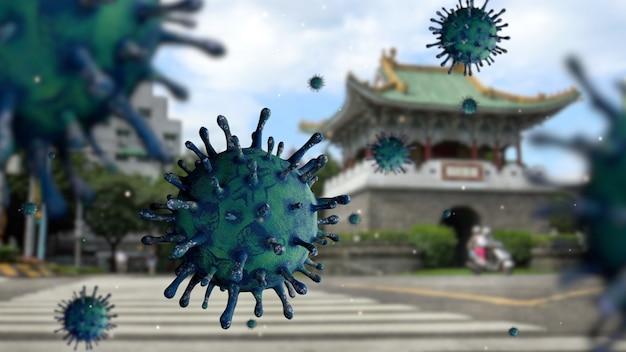 Virus de la grippe covid 19 avec une belle porte sud auxiliaire à taipei comme grippe dangereuse