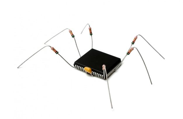 Virus informatique stylisé de composants électroniques isolé sur fond blanc
