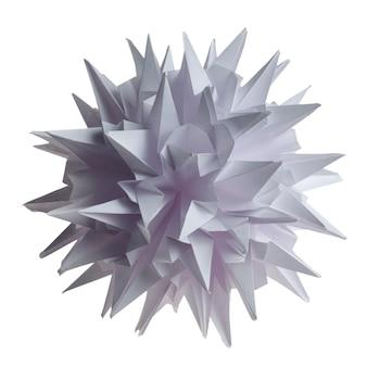 Virus kusudama unité origami blanc ou flocon de neige isolé sur blanc