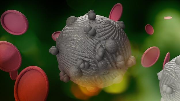 Le virus en rendu 3d vert foncé pour le contenu de la médecine et des soins de santé.