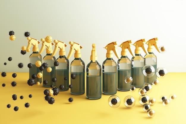 Virus tué par pulvérisation, solution désinfectante, vaporisateur en bouteille entouré de beaucoup de virus colorés en rendu 3d jaune