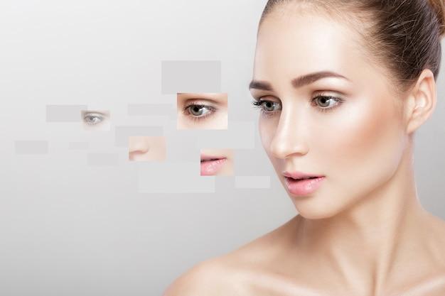 Visage de belle femme. photo de différentes parties. chirurgie esthetique