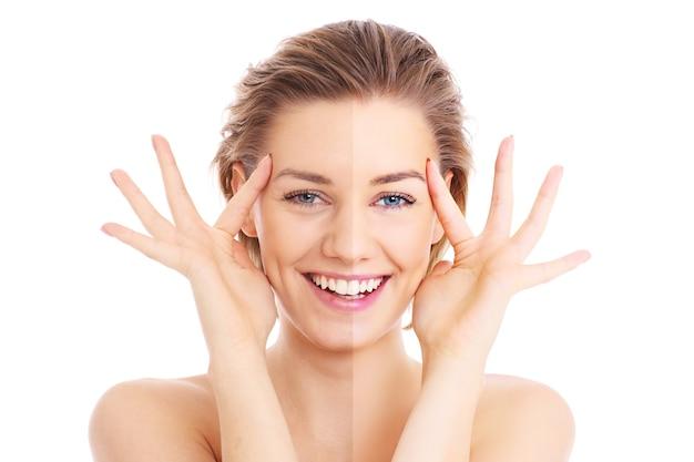 Un visage féminin coupé en deux pour présenter avant et après l'effet sur fond blanc