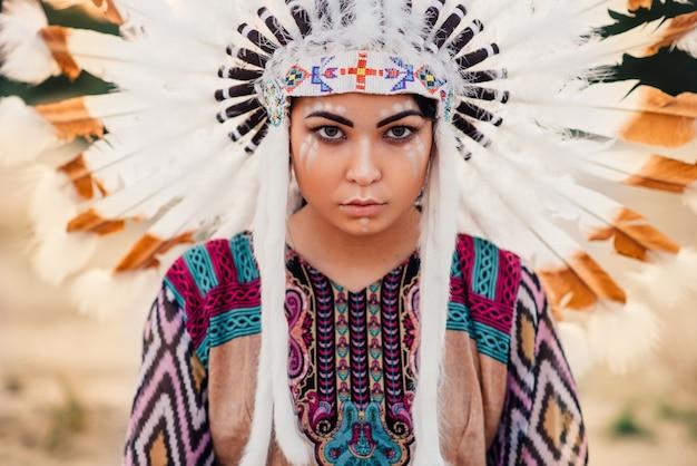 Visage de femme amérindienne, cherokee, navajo