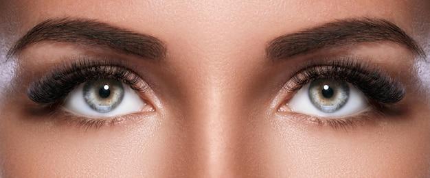 Visage de femme avec de beaux sourcils et des cils artificiels