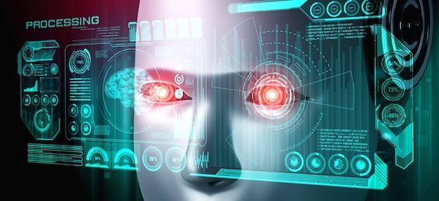 Visage humanoïde de robot bouchent avec le concept graphique de l'analyse de données volumineuses
