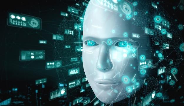 Visage humanoïde de robot se bouchent avec le concept graphique d'analyse de données volumineuses