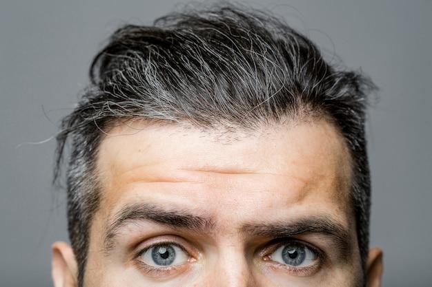 Visage masculin avec des yeux effrayés