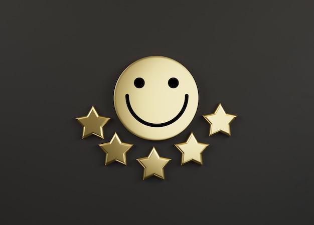 Visage souriant sur cercle doré avec cinq étoiles d'or sur fond noir pour la meilleure évaluation client ou client après utilisation du concept de produit et service par rendu 3d.