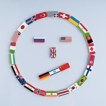Visage souriant des drapeaux nationaux sur les dominos concept de paix et du commonwealth