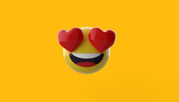 Visage souriant emoji 3d avec des yeux de coeur isolés pour la composition des médias sociaux