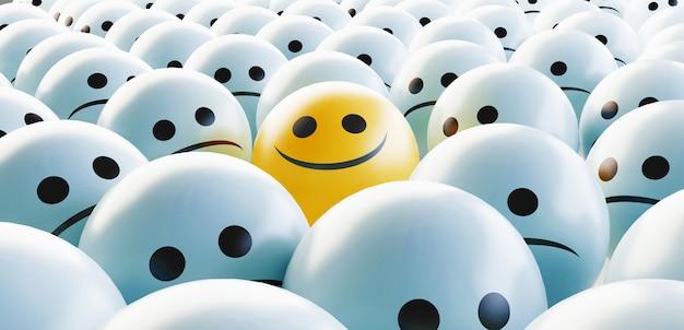 Visage triste et heureux, concept de bonheur, illustration de rendu 3d