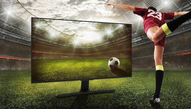 Vision réaliste d'un match de football à travers des émissions télévisées