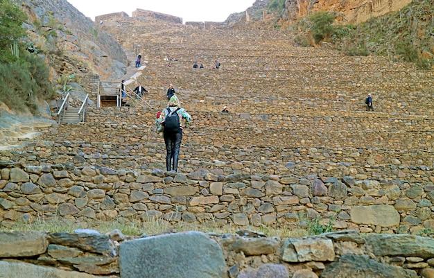 Visiteur grimpant sur les terrasses de pumatallis à l'intérieur de la citadelle des incas d'ollantaytambo urubamba pérou