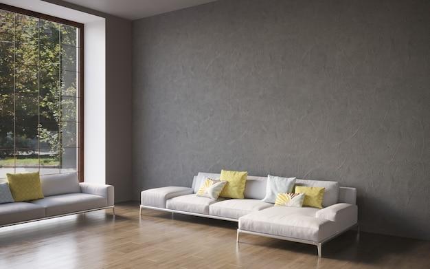 Visualisation 3d d'un grand intérieur moderne et spacieux avec un mur en béton et un canapé confortable