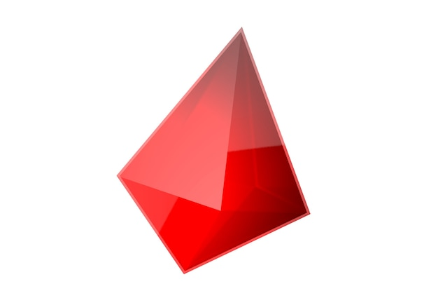 Visualisation gem cristal réfléchissant rubis isolé sur fond blanc