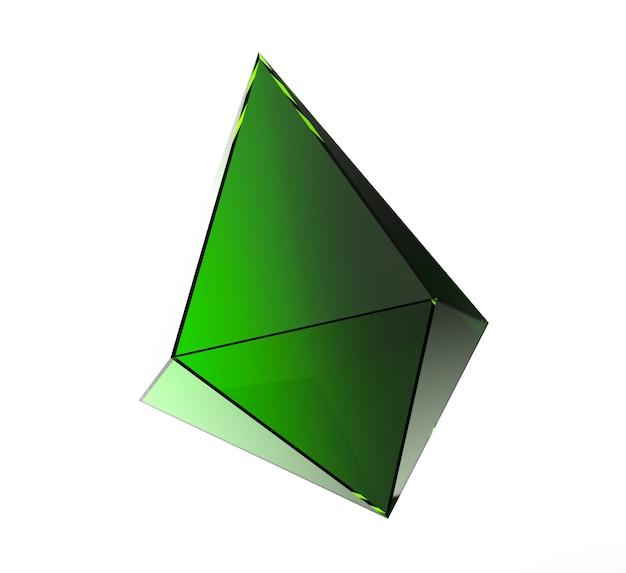 Visualisation gem cristal transparent vert isolé sur fond blanc