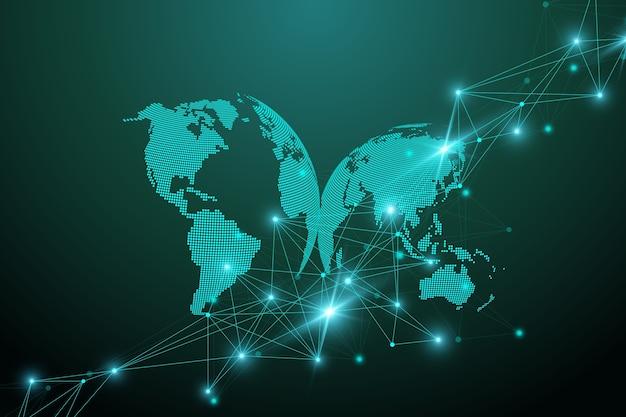 Visualisation des mégadonnées. complexité de l'information visuelle de fond abstrait géométrique. conception d'infographie futuriste. contexte technologique avec ligne et points connectés, illustration du flux d'ondes.