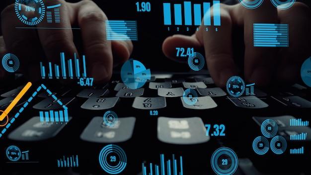 Visuel créatif de big data et analyse financière sur ordinateur