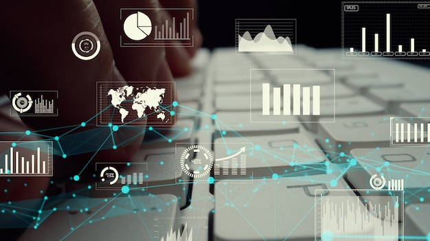 Visuel créatif du big data d'entreprise et analyse financière sur ordinateur montrant le concept de méthodologie de prise de décision d'investissement statistique