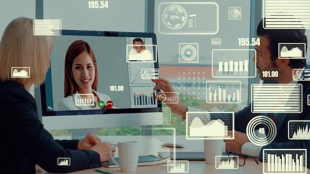 Visuel créatif d'hommes d'affaires lors d'une réunion du personnel d'entreprise par appel vidéo