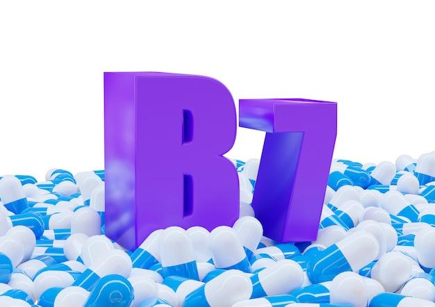 Vitamine b7 sur des capsules isolées sur une surface blanche.