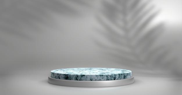 Vitrine minimaliste avec espace vide. podium en marbre vide pour le produit d'affichage. rendu 3d.